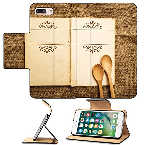 MSD Premium Apple iPhone 7 Plus Flip Pu Leather Wallet Case Vintage open recipe book with old grunge paper textured pages IMAGE 22536608