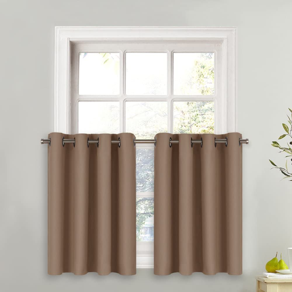 NICETOWN Blackout Tier for Small Window - Grommet-Top Window Treatment Blackout Tier Panel Drape for Bedroom (1 PC, W52 x L36 inches + 1.2 inches Header, Cappuccino)