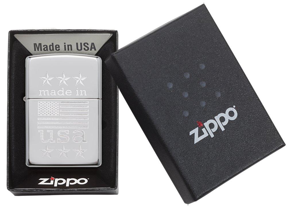 Zippo Made in USA with Flag Pocket Lighter, High Polish Chrome by Zippo (Image #5)