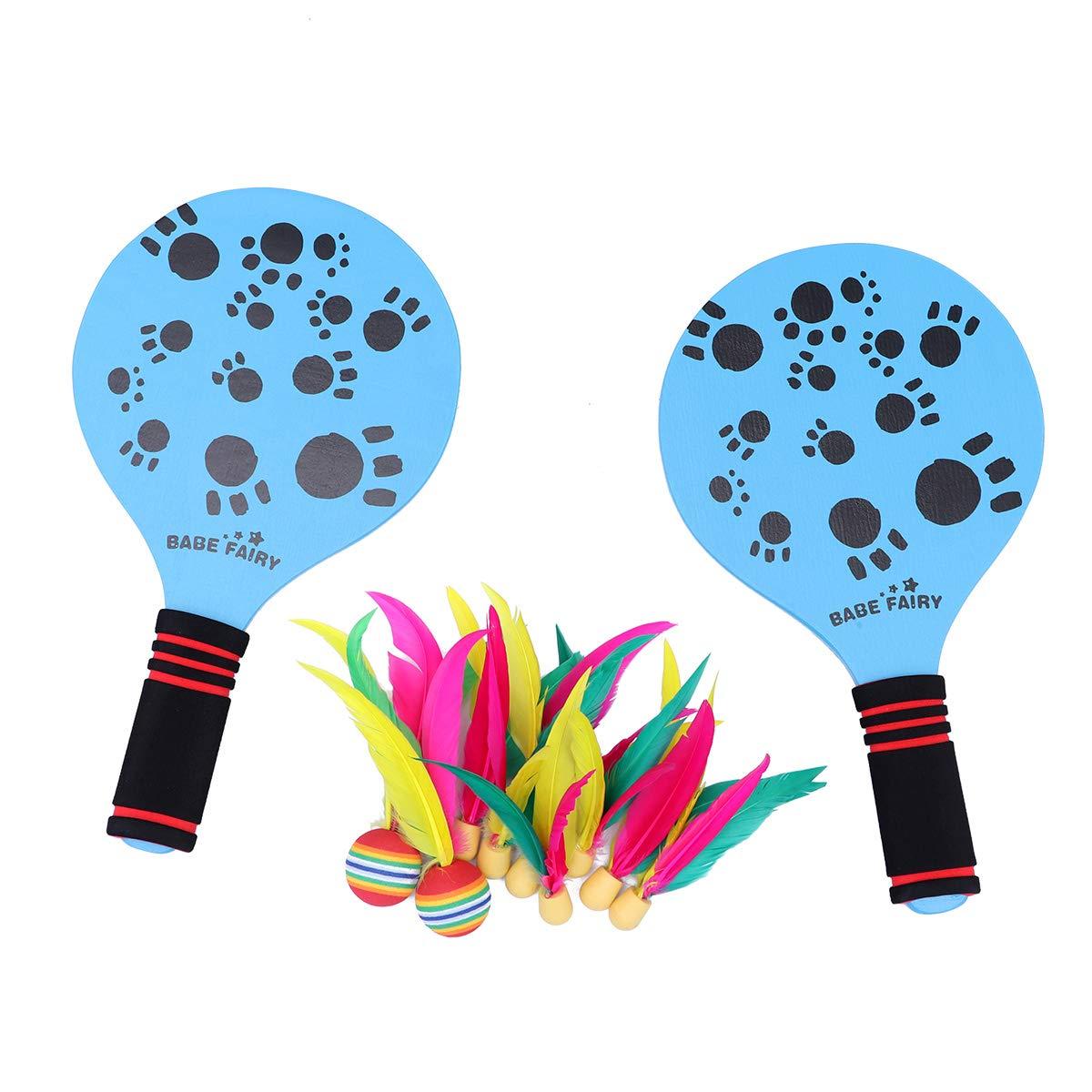 LIOOBO Juego Raquetas Palas Badminton de Playa Juego y Entrenamiento de Familia niños Oficina Deporte al Aire Libre (Azul)