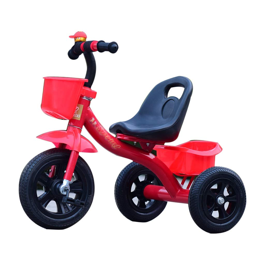 Xing Hua Shop Stroller Toys Children's Tricycle Bicycle Children's Bicycle 1-3-5 Years Old Children's Trolley with Storage Basket Load Bearing 45kg (Color : Red)