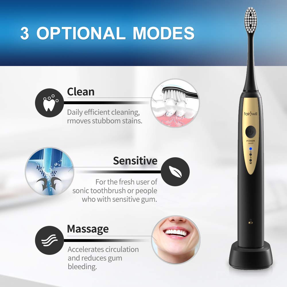 Fairywill Sonic Electric Toothbrush for Adults, with 2 DuPont Brush Heads Ultra-Powerful Cordless Rechargeable Dentist Recommended Whitening Toothbrush, Over 30 Days Long Battery Life by Fairywill (Image #4)