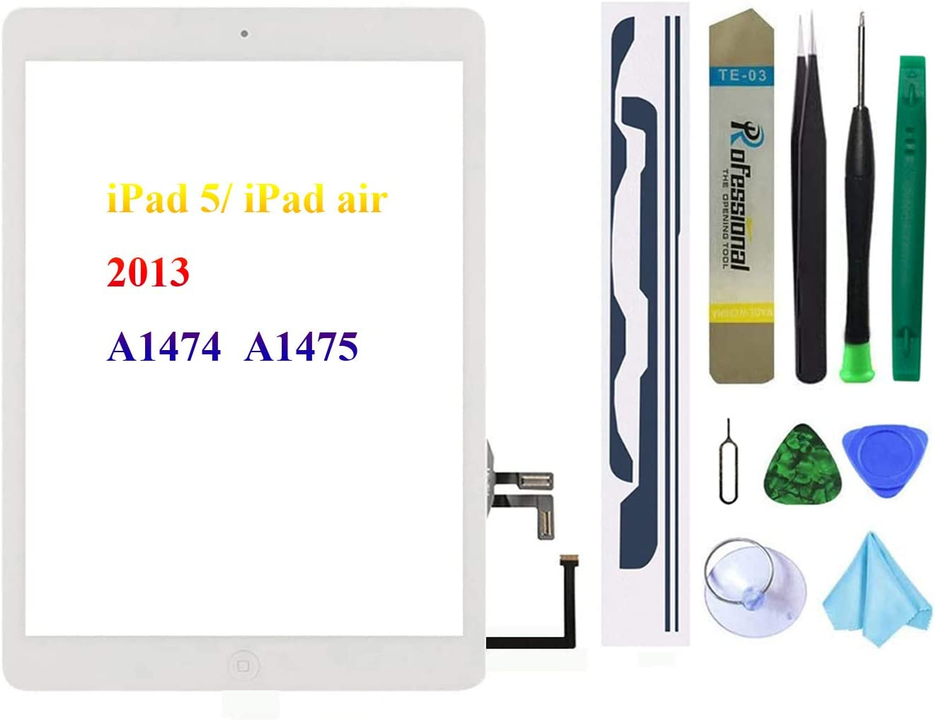 White Touch Screen Replacement for iPad 5/iPad air 2013 9.7 inch, A1474 A1475 A1476 Digitizer Glass Assembly with Home Button + Pre-Installed Adhesive + Tool kit