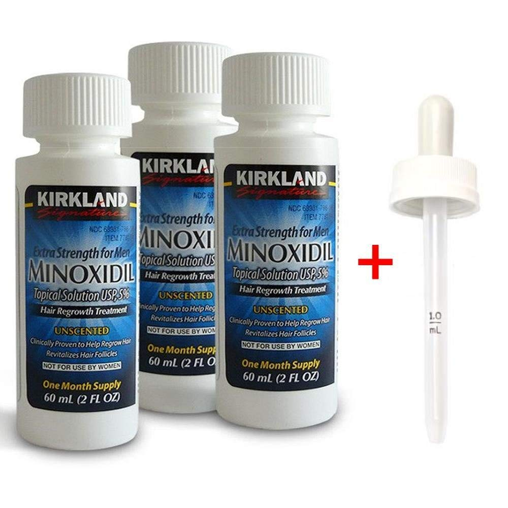 Kirkland Signature Minoxidil Hair Regrowth Solution for Men - 3 Month Supply,Package Includes Child-Resistant Dropper Applicator, Blue
