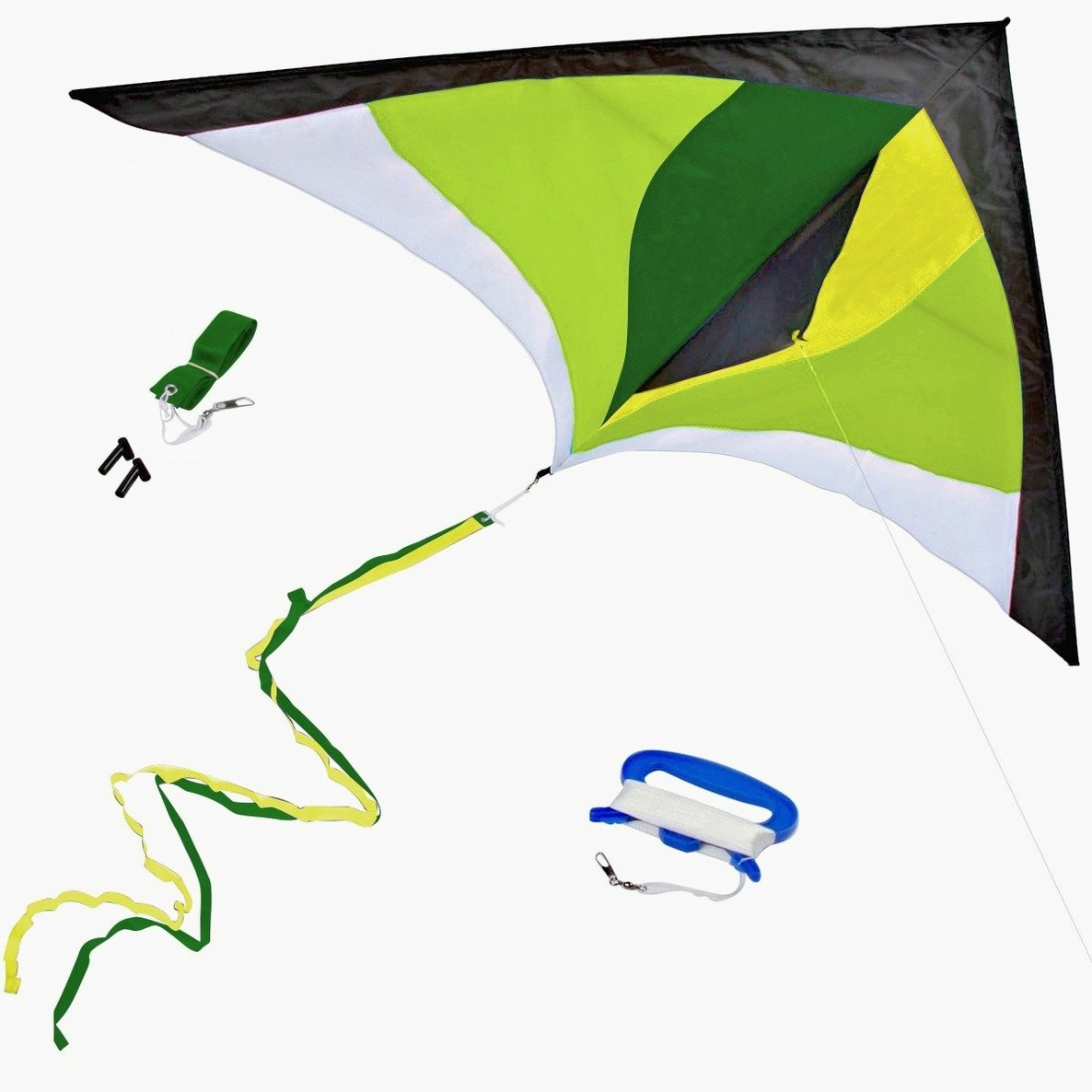 Best Delta Kite, Easy Fly for Kids and Beginners, Single Line w/Tail Ribbons, Stunning Green & Yellow, Materials, Large, Meticulous Design and Testing + Guarantee + Bonuses! by StuffKidsLove