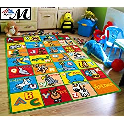 "Mybecca Kids Rug Alphabet Animals 3' X 5' Children ABC Area Rug for Playroom & Nursery - Non Skid Gel Backing (39"" x 56"")"