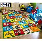 Mybecca Kids Rug Alphabet Animals 3' X 5' Children ABC Area Rug for Playroom & Nursery - Non Skid Gel Backing (39  x 56 )