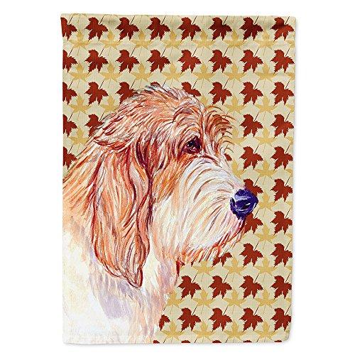 (Caroline's Treasures LH9127GF Petit Basset Griffon Vendeen Fall Leaves Portrait Flag, Small, Multicolor)