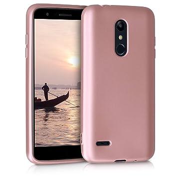 kwmobile Funda para LG K11 / K11+ - Carcasa para móvil en TPU Silicona - Protector Trasero en Oro Rosa Metalizado