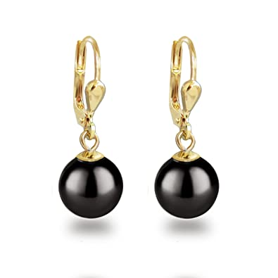 b34dacaa4b326 Beautiful gold doublé - earrings with pearls from Swarovski and pearl  earrings high quality gold plated Black  Amazon.co.uk  Jewellery