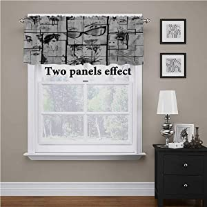 """Eiffel Tower Bedroom Blackout Valance Tier Women Faces with Different Eye Makeup Eiffel Tower Romance Paris Image Rod Pocket Matches with Panels Black White Grey, 56"""" x 14"""""""
