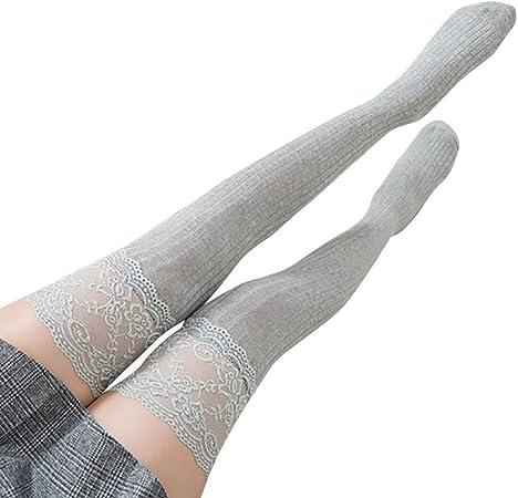 Medias Sexis for Mujer Medias de Encaje hasta el Muslo Medias largas hasta la Rodilla Medias largas for niñas Medias de algodón Mujeres Calcetines (Color : Gray, Size : One Size): Amazon.es: