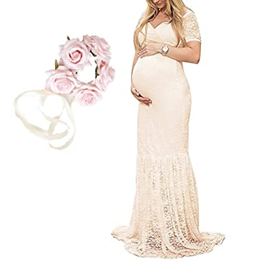bb2968d153 Women s Off Shoulder Short Sleeve Lace Maternity Gown Maxi Photography  Dress (Beige