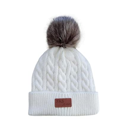 c848d525fb6ae Amazon.com  Unisex Baby Hat Longay Winter CC Beanie Faux Fur Pom-pom Gorro  Cable Slouchy Skull Cap Outdoor Hat (White)  Baby