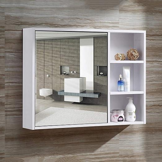 Armarios con espejo Espejo De Baño Gabinete Baño De Madera Sólida Gabinete Espejo Cocina De Pared Espejo Gabinete Tocador Espejo Gabinete (Color : Blanco, Size : 80 * 14 * 60cm): Amazon.es: Hogar