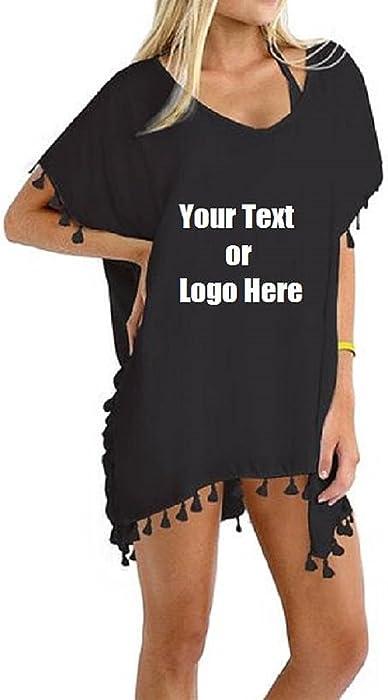 17192ad4a3 Custom Personalized Designed Women's Chiffon Tassel Beachwear Bikini  Swimsuit Cover up (Black)