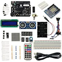 SainSmart Leonardo R3 Starter Kit for Arduino (1602CLD + Prototype Mini Breadboard + HC-SR04 included) With Tutorial Instruction Manual on Basic Arduino Projects