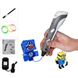 CCTREE 3D Printer Printing Pen for Kids Art & Craft Making 3D Drawing Modeling and Education with 3 Rolls Filament Refills and 1PCS Spatula (Grey)