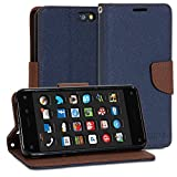 Fire Phone Case, GMYLE Wallet Case Classic for Amazon Fire Phone - Navy Blue & Brown Cross Pattern PU Leather Protective Flip Folio Slim Fit Wallet Stand Case Cover (with Card Slot and Money Pocket)