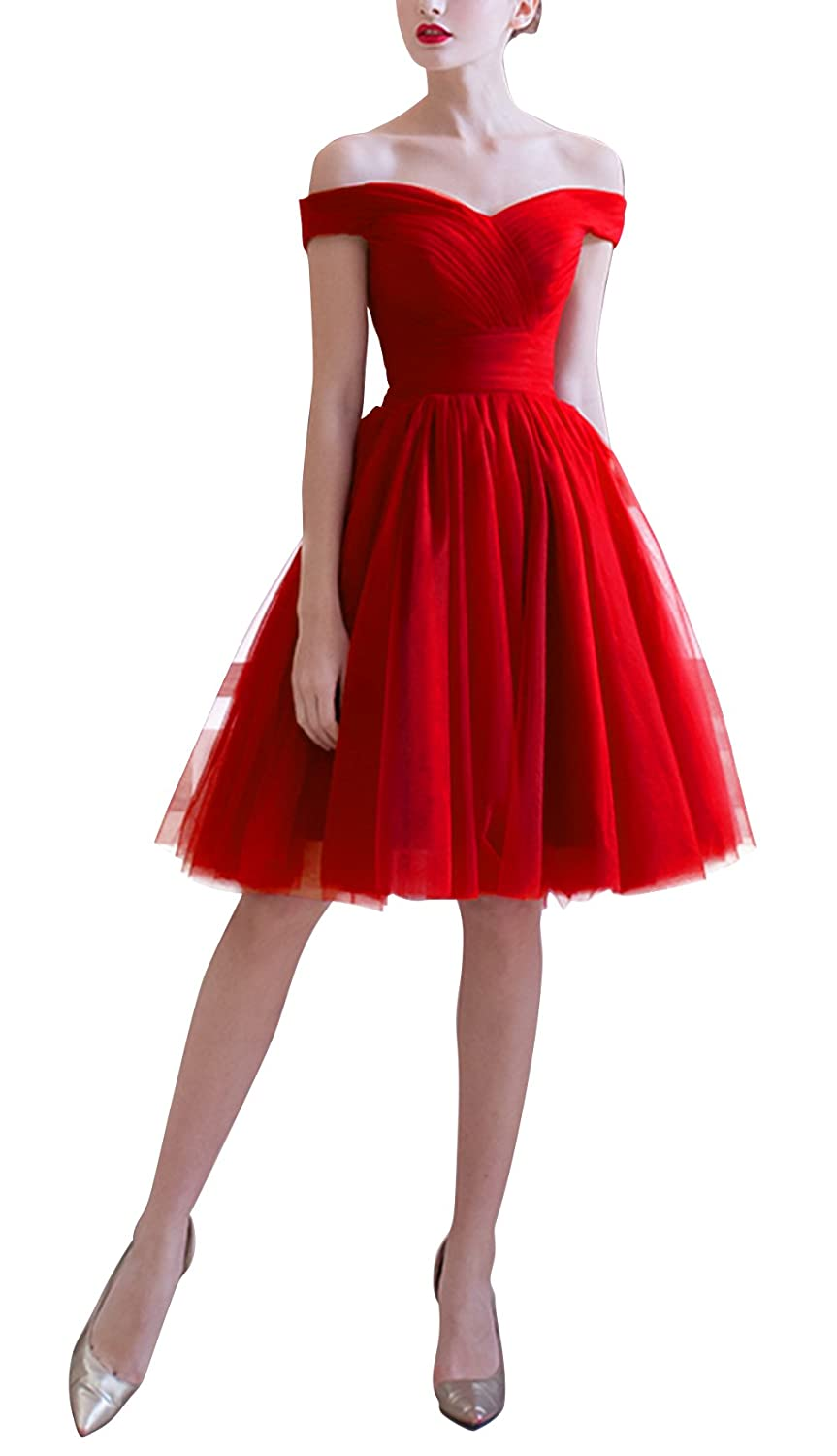 a89e76ed9c Amazon.com  Ethel Women s Tulle A-line Boat Neck Pleated Knee Length Prom  Dress  Clothing