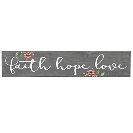 Amazon Faith Hope Love Inspirational Pine Block Inspirational Adorable Love Faith Hope Quotes