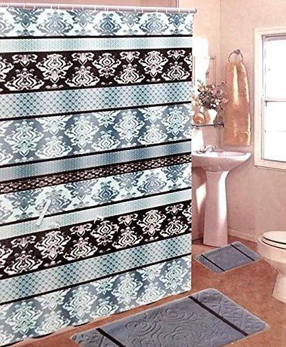 15 Peice Gray Bathroom Mat Shower Curtain Chrome Hooks Set