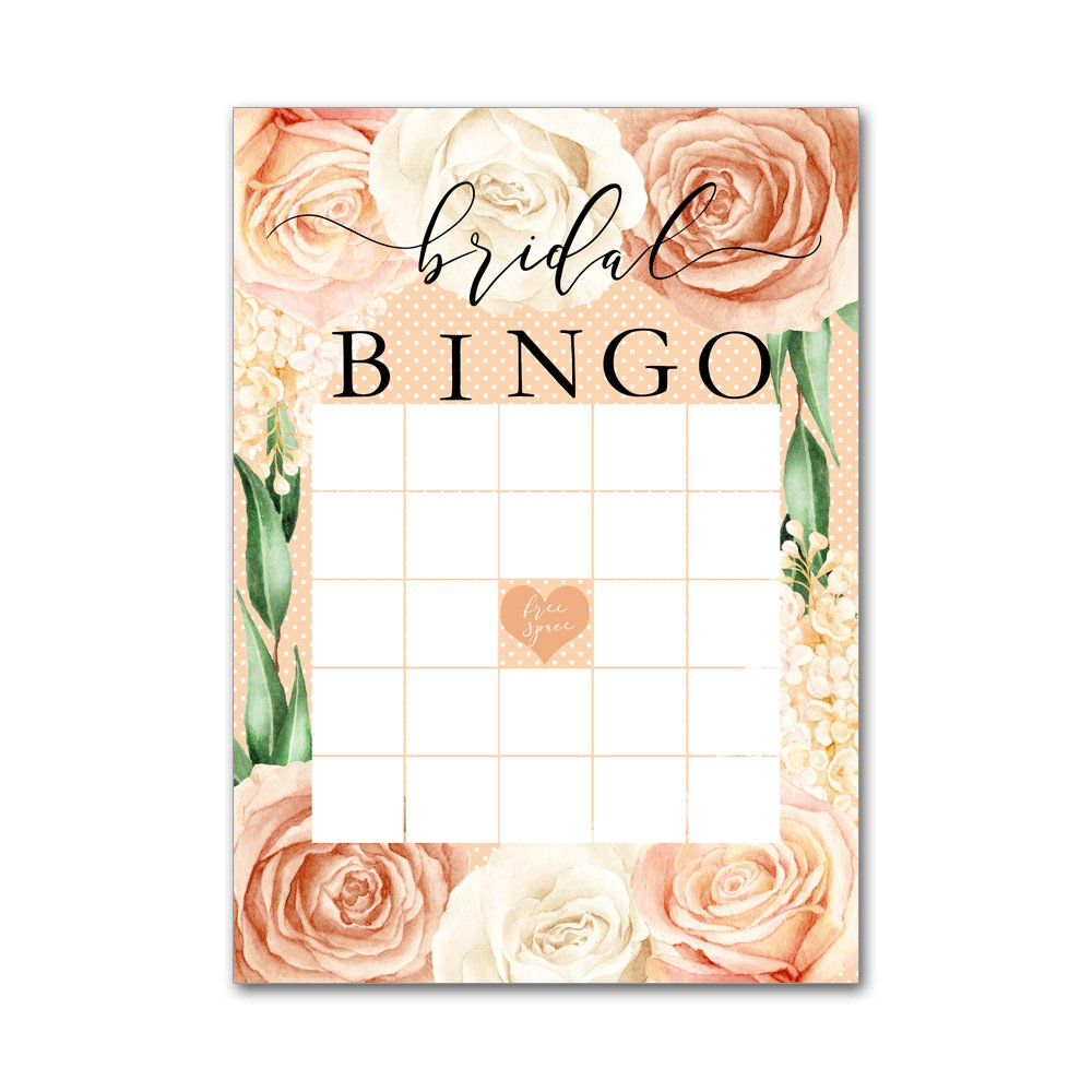 Bingo Game Cards for Bridal Wedding Showers with Watercolor Peach and White Romantic Roses BBG8039