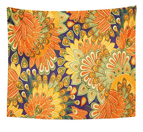 Emvency Tapestry Artwork Wall Hanging Orange 1970S Vintage Pattern Close Up Blue Paisley Floral Seventies 60S 1960S Flower 50x60 Inches Tapestries Mattress Tablecloth Curtain Home Decor Print