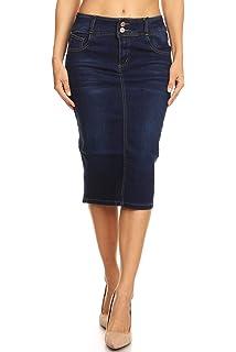 82fecee6a Womens Plus/Juniors Mid Waist Below Knee Length Denim Skirt in Pencil  Silhouette