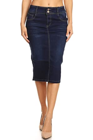 89cbeb57e Women's Juniors Mid Waist Below Knee Length Denim Skirt in a Pencil  Silhouette in Dark Blue