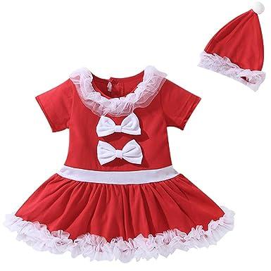 c2da75a1ca760 Le SSara Noël bébé Cosplay Robe de Coton Costume Nouveau-né Tenue avec  Chapeau 2pcs  Amazon.fr  Vêtements et accessoires