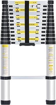 Finether-Escalera telescópica portátil aluminio, 13 escalones multifunción capacidad 150 Kg de escala de 84 cm, 3,8 m: Amazon.es: Bricolaje y herramientas