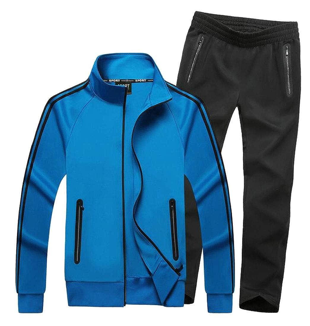 1 US Medium ouxiuli Men's Casual Full Zip Sports Jacket & Pants Jogging Tracksuit