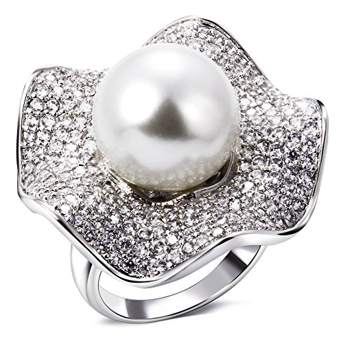 PSRINGS Rings women rhodium plated with Cubic zircon imitation pearl Ring designer jewelry 9.0