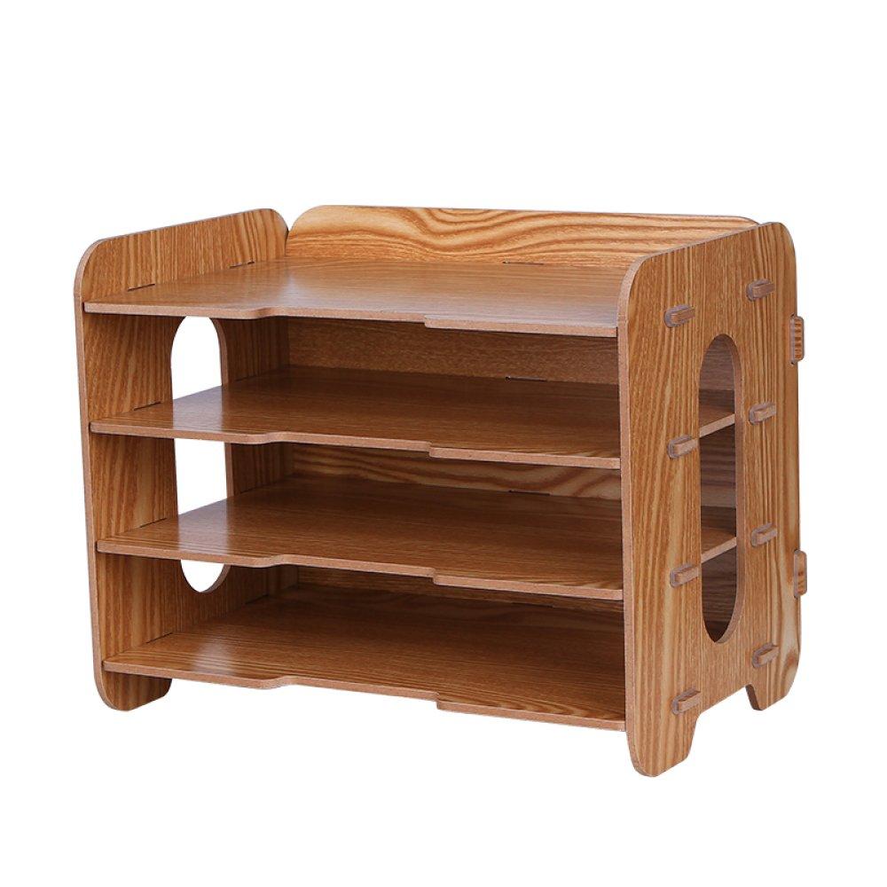 Bookcase Thick Wooden Desktop Storage Box Storage File Holder Multi-Layer Data Bookshelf Office Supplies Storage Box,WoodColor by ANHPI-bookcase (Image #1)