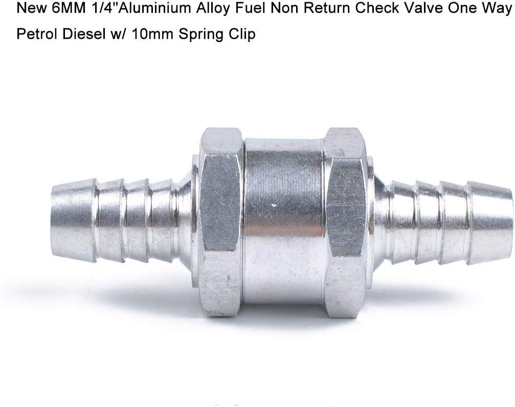 X AUTOHAUX 6mm 1//4 One Way Petrol Diesel Oil Fuel Non Return Check Valve