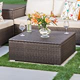 Santa Rosa Outdoor Wicker Coffee Table with Storage by Christopher Knight Home 13.50 inches high x 33.50 inches wide x 30.75