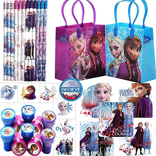 Party De Frozen (Deluxe Frozen Birthday Party Favors and Goodie Bag Fillers For 12 with Frozen Goody Bags, Pencils, Stickers, Tattoos, Stampers, and)