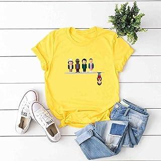 DTX T-Shirt da Donna a Maniche Corte in Cotone Girocollo con Maniche Lunghe da Strada, Giallo, s