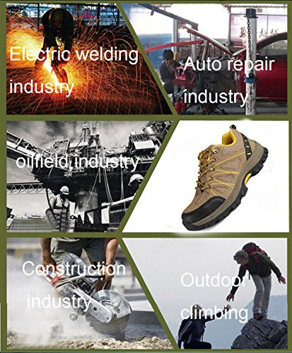 JACKSHIBO and Steel Khaki Safety Shoes Proof Shoes Industrial Work With Construction Footwear Puncture Toe RAOcR