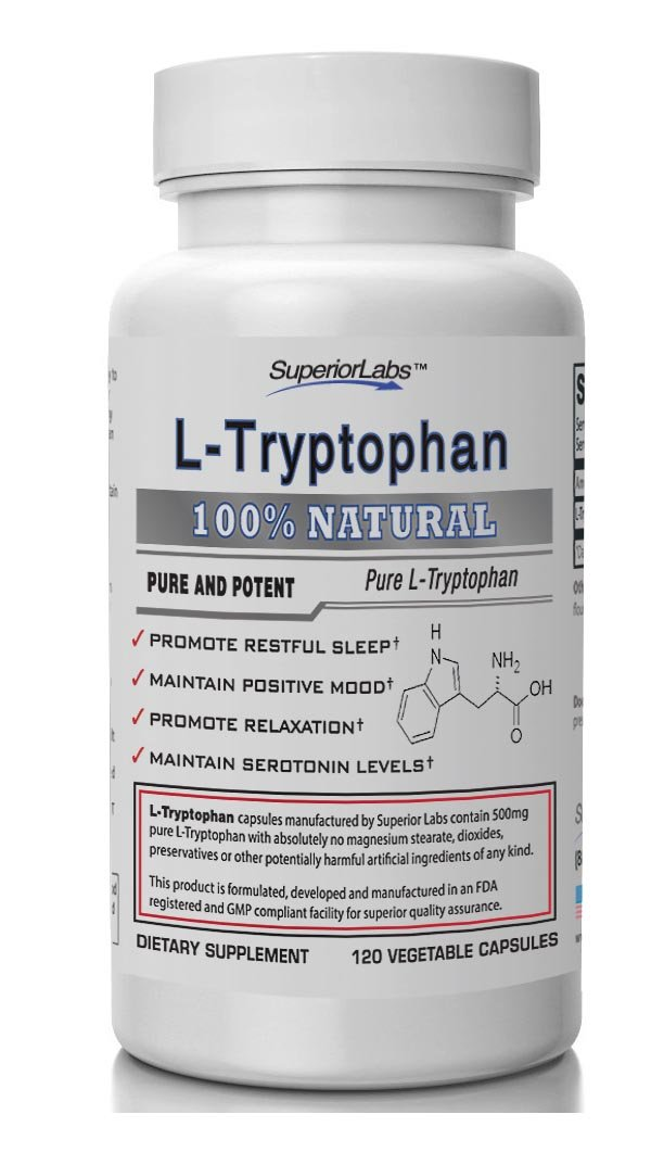 Superior Labs – Pure L-Tryptophan – 500mg, 120 Vegetable Capsules – Non-GMO Dietary Supplement – Restful Sleep & Relaxation – Maintains Serotonin Levels – Helps Improve Circulation & Reduce Stress. by Superior Labs (Image #1)