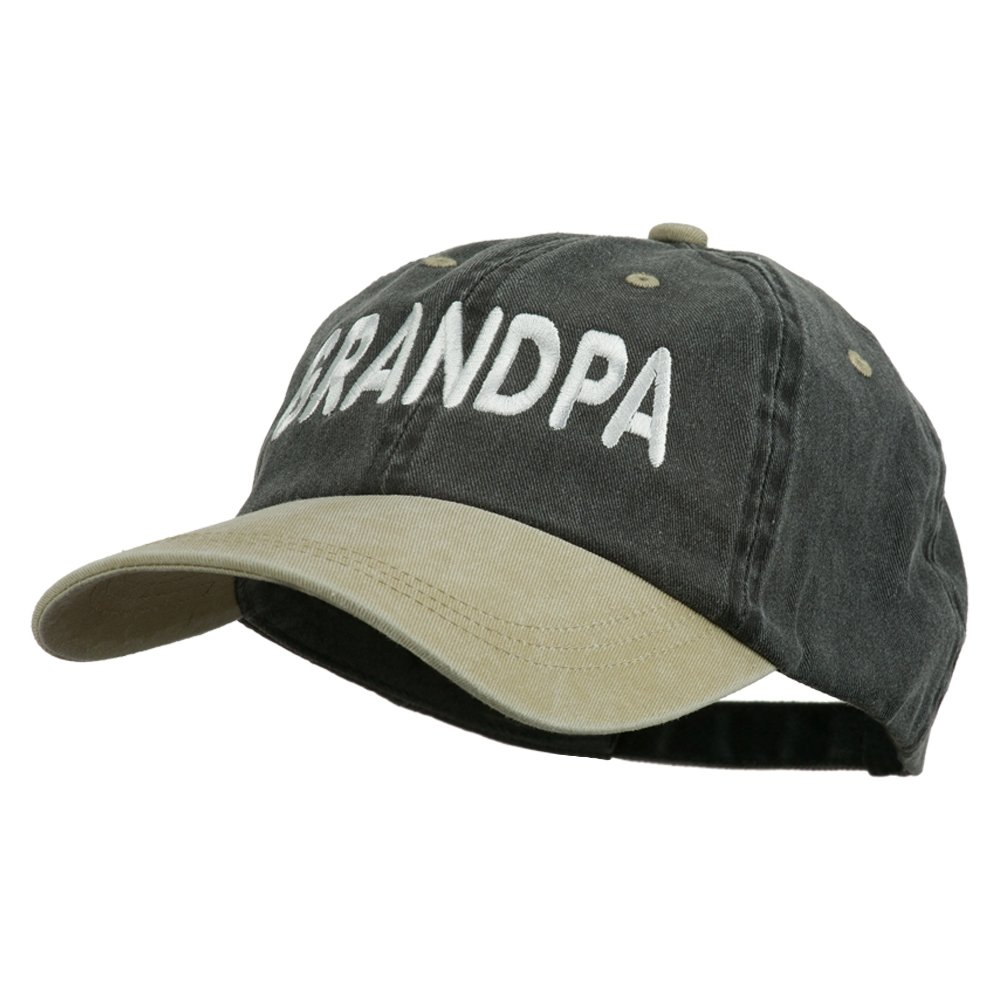 E4hats Wording of Grandpa Embroidered Washed Two Tone Cap - Black Khaki OSFM