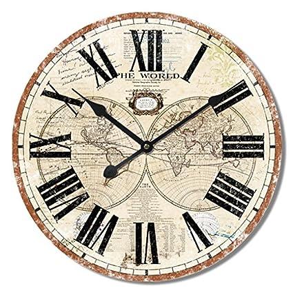 Alices Collection - Grande Reloj de Pared – Vintage - Madera MDF, Dia 60 cm