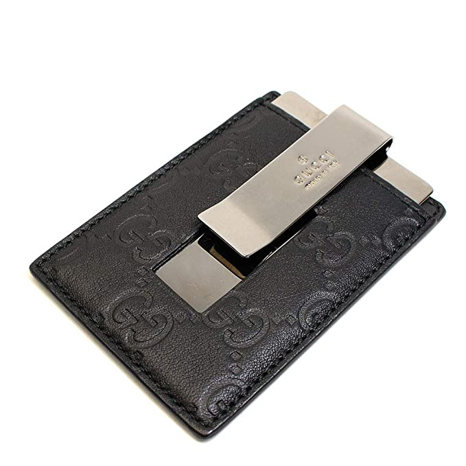 877b98cba375 Gucci Signature Guccissima Leather Money Clip, Black 115268: Amazon ...