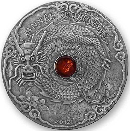 - 2012 Togo - Year of the Dragon - Anne Du Dragon - 2oz - 1500 Franc CFA - Antique Finish Silver Coin - Uncirculated