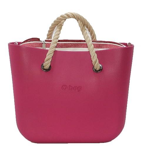 OBAG Bolsa O Bag Mini sangria con bolsa rayas roja y Beige y Mango corto de cuerda Natural: Amazon.es: Zapatos y complementos