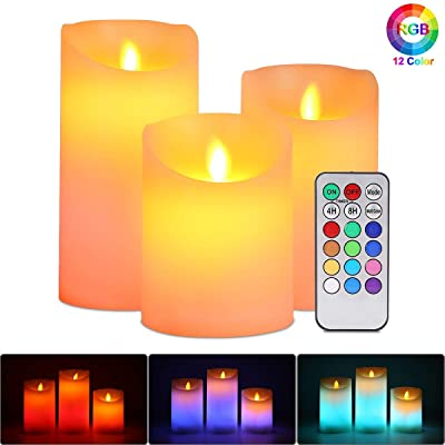 Flameless LED Candles Light, ALED LIGHT 3 Pack Warm White Plus Multicolor Real Wax Battery Operated Electric LED Moving Wick Flickering Candle Lights with Remote Control Timer for Decoration, Wedding