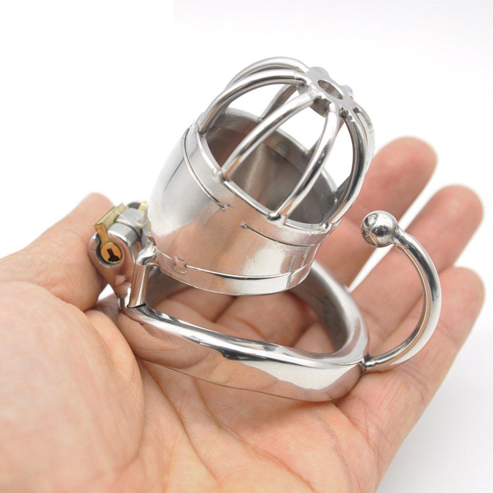 Loveusexy macho Acero inoxidable macho Loveusexy Castigo pequeño jaula con aros de aro de base Longitud de jaula 45mm con 3 anillos de tamaño Z7P-45 fd98c4