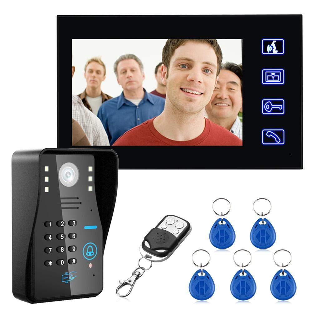 FOONEE 7 LCD Fingerprint Video Door Phone, Doorbell Intercom System with Night Vision and Wireless Remote Control, Access Control Card Doorbell Set