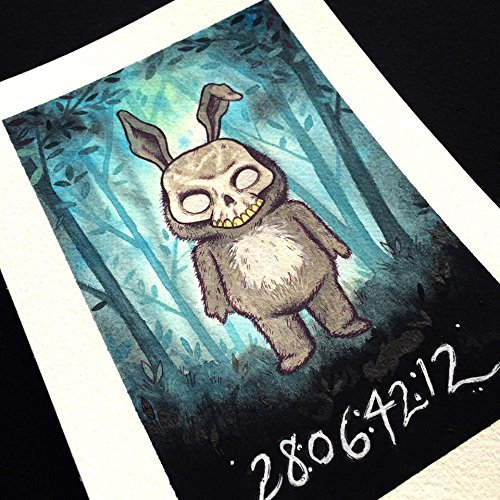 Cute Horror Frank the Bunny Watercolor Print by Michelle -